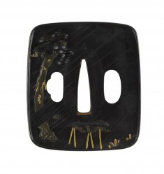 Tsuba with Temple Bell and Sparrows