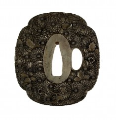 Tsuba with Chrysanthmums