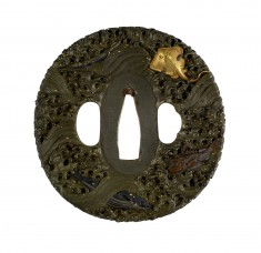 Tsuba with Fish and Waves