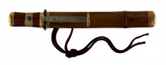 Dagger (hamidashi) with brown lacquer saya worked as bamboo culm. (includes 51.1279.1-51.1279.5)