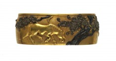 Fuchi with Horses and Cherry Blossoms
