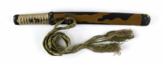 Dagger (aikuchi) with saya in two shades of brown lacquer with chrysanthemum mountings (includes 51.1290.1-51.1290.2)
