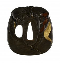 Tsuba with the God Hotei with his Sack