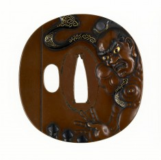 Tsuba with a Gate Guardian at a Temple