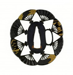 Tsuba with Eight Folding Fans