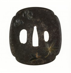 Tsuba with Maple Leaves and Cherry Blossoms
