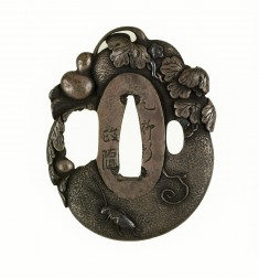 Tsuba with Gourd with Grasshopper