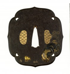 Tsuba with Rooster, Hen, and Chick with Autumn Flowers