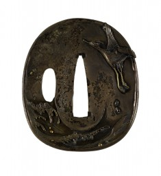 Tsuba with a Crane Soaring over Waves