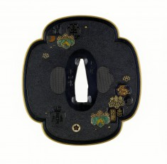 Tsuba with Imperial Paulownia Crests and Seals