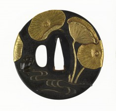 Tsuba with a Frog in a Lotus Pond