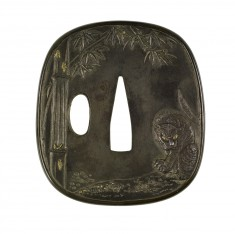 Tsuba with a Tiger in a Bamboo Grove