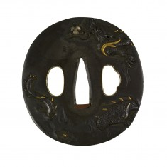 Tsuba with a Dragon Ascending Through Mist Clutching a Jewel