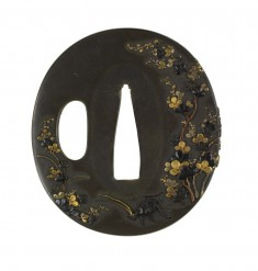 Tsuba with a Cricket and Dragonfly in Bush Clover