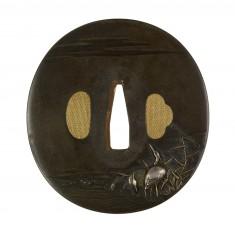 Tsuba with Two Cranes among Reeds