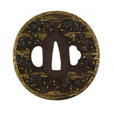 Tsuba with Cherry Blossoms in Mist