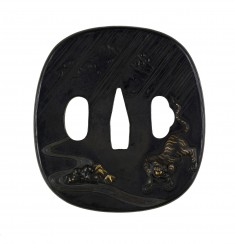 Tsuba with a Tiger and Bamboo in Rain