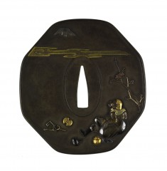 Tsuba with the Treasures of the Seven Gods of Good Fortune