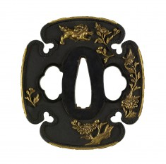 Tsuba with Chinese Lions and Peonies
