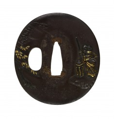 Tsuba with the Chinese General Komei Changing the Direction of the Wind