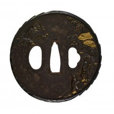 Tsuba with Chinese Gentlemen and Mountain Huts