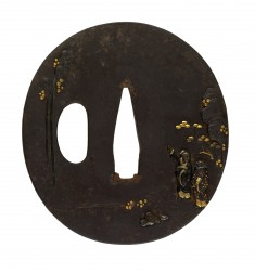Tsuba with Chinese Gentlemen Viewing a Waterfall