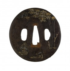 Tsuba with Cranes and Bamboo