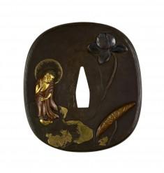 Tsuba with Amida Buddha on a Lotus Leaf