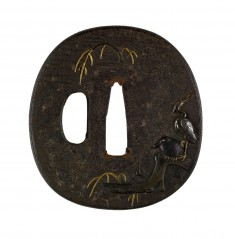 Tsuba with a Crow and a Heron on a Willow Branch