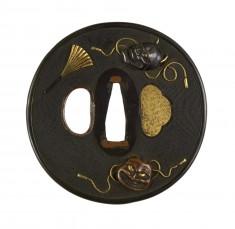 Tsuba with Three Noh Masks