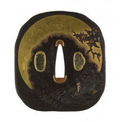 Tsuba with Cranes and Peach Trees
