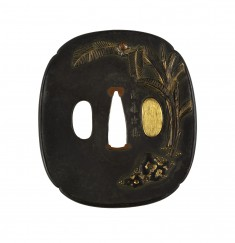 Tsuba with Banana Trees, Snail and Mushroom