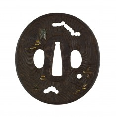 Tsuba with Insects on Old Weathered Wood