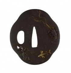 Tsuba with Sea Creatures: Eel, Flying Fish, Spiny Lobster, and Octopus
