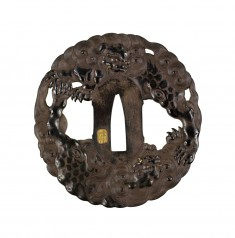Tsuba with Chinese Lions Among Clouds