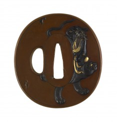 Tsuba with the Taoist Immortal Bukan and his Tiger