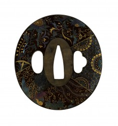"Tsuba with Floral Design of Overlapping Textiles (""Ho-o"")"