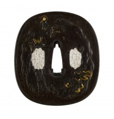 Tsuba with Buddha and Demon in Mountains