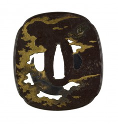 Tsuba with Hawk, Crescent Moon and Clouds