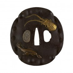 Tsuba with Spiny Lobster and Fish