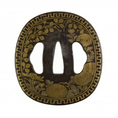 Tsuba with Chrysanthemums and Bush Clover