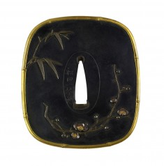 Tsuba with the Four Gentlemen: Orchid, Bamboo, Plum, and Chrysanthemum