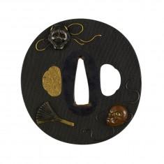 Tsuba with Five Noh Masks