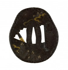 Tsuba with Openwork Fan and New Years Decorations