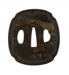 Tsuba with Swallows and Cherry Blossoms