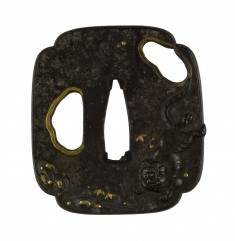 Tsuba with Tiger and Waterfall