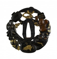 Tsuba with Hotei with Attendants and Treasures