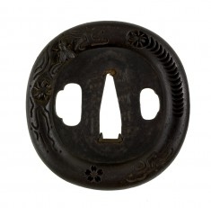 Tsuba with Fly and Spiders