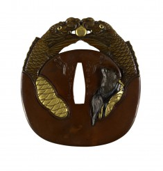 """Tsuba with a Fox in Buddhist Robes Inside a Gong (""""Mokugyo"""")"""