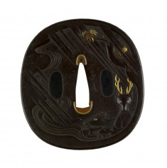Tsuba with Deer Caught in a Storm